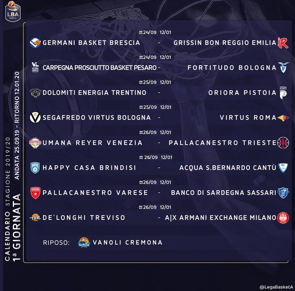Serie A2 Basket Calendario.Serie A Il Calendario Della Stagione 2019 2020