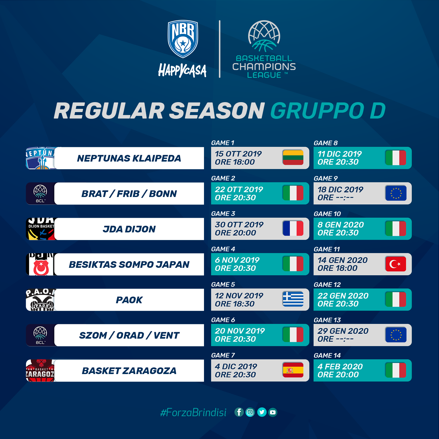 Calendario Della Champions League.Il Calendario Completo Della Happy Casa Brindisi In Regular