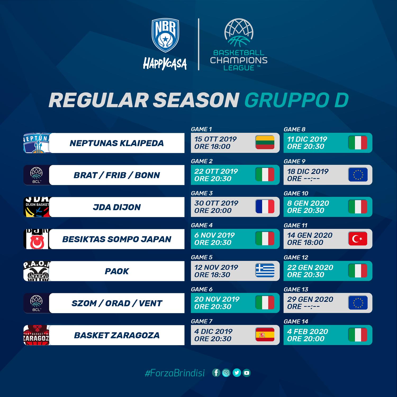 Calendario Eurobasket 2020.Il Calendario Completo Della Happy Casa Brindisi In Regular Season