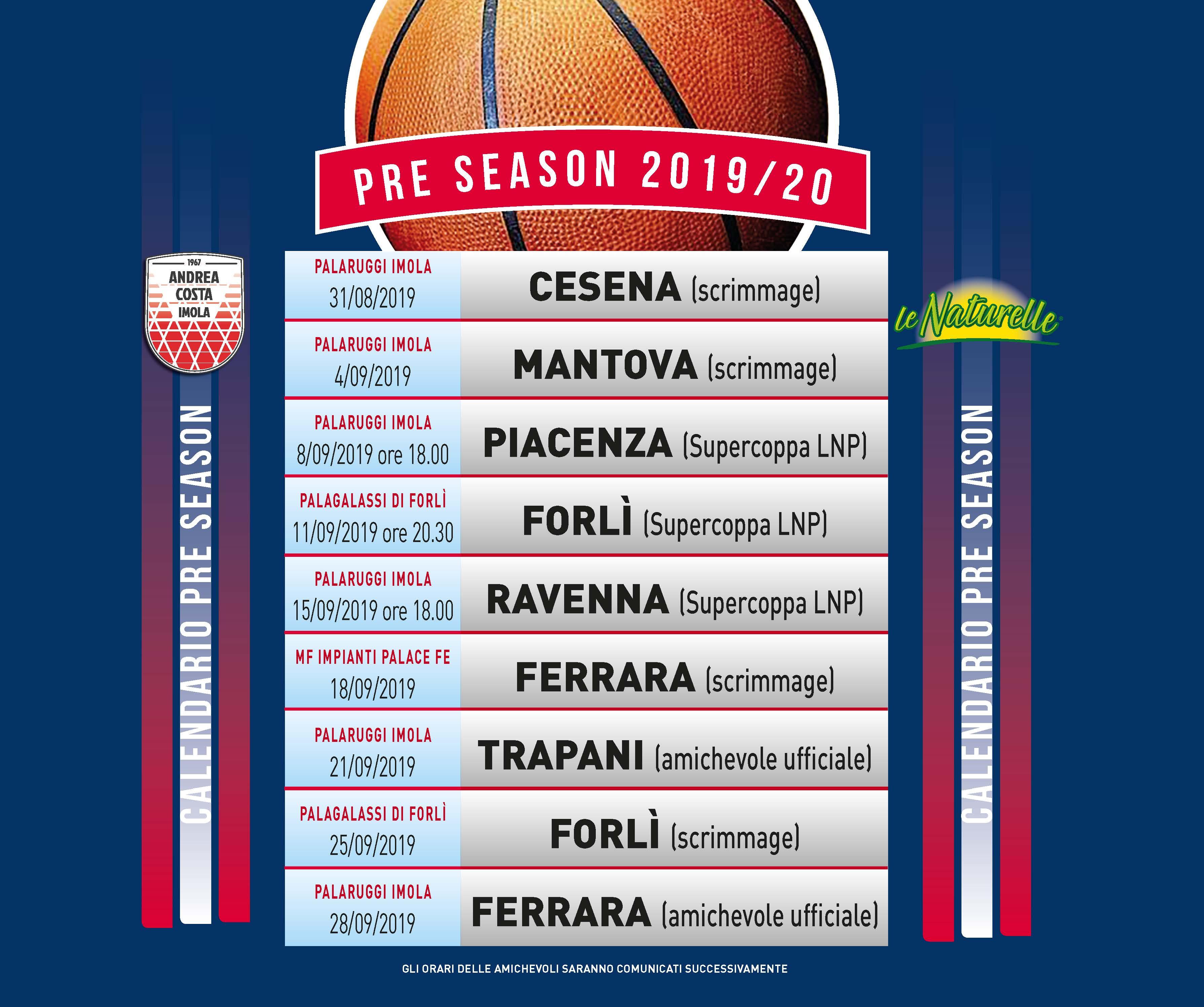 Calendario Basket A2 Ovest.Il Calendario Del Precampionato Di Imola
