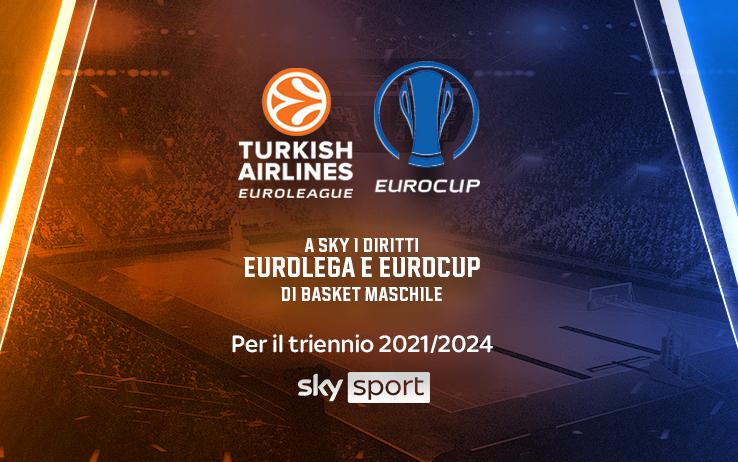 Sky annuncia l'acquisizione dei diritti dell'EuroLega e dell'EuroCup maschili fino al 2024